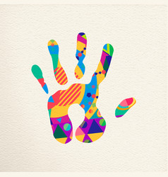 Human hand with colorful abstract decoration vector