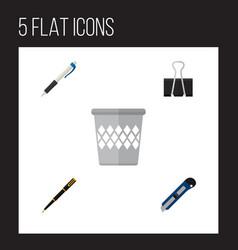 icon flat equipment set of pen pushpin cutter vector image