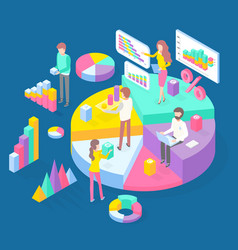 Infographics isometric 3d charts pie charts vector