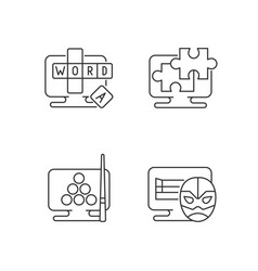 intellectual game types linear icons set vector image