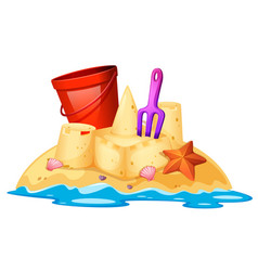 isolated sand castle on white background vector image