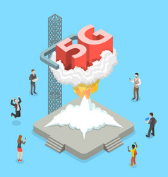 isometric flat concept of 5g global vector image