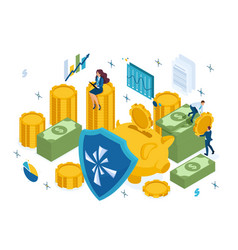 Isometric reliable protection your money vector