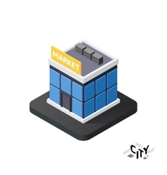 Isometric supermarket icon building city vector image