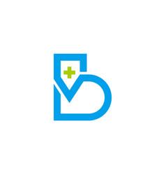 Letter b plus medical heart pulse symbol logo vector
