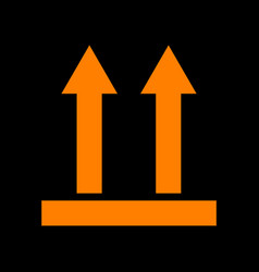 logistic sign of arrows orange icon on black vector image