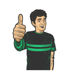 Man thumbs up sketch vector