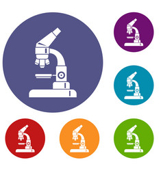 microscope icons set vector image