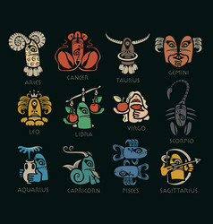 monsters signs zodiac icons for horoscopes vector image