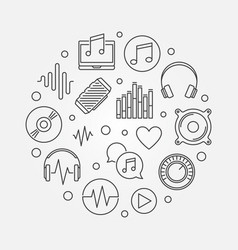 music icons in circle shape outline vector image