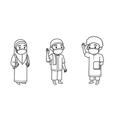 muslim kids character wearing face mask wave each vector image