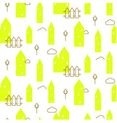Neon green houses baby fabric seamless vector
