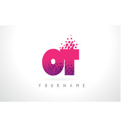 ot o t letter logo with pink purple color and vector image