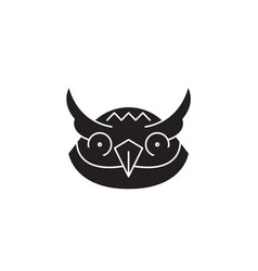 owl head black concept icon owl head flat vector image