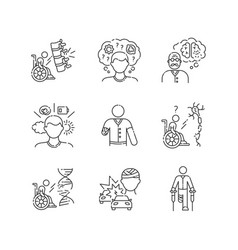 Patient with disability linear icons set vector