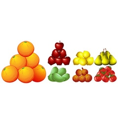 Piles of different kinds of fruits vector
