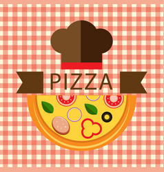 Pizza logo with chef hat vector