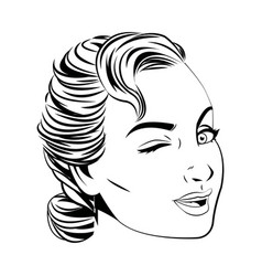 pretty face woman hairstyle comic vector image