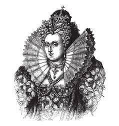 queen elizabeth i of england vintage vector image