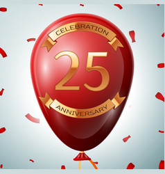 Red balloon with golden inscription 25 years vector