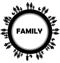 Round frame family simbols vector