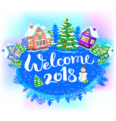 Round winter banner welcome 2018 vector