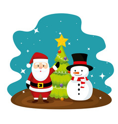 santa claus and pine tree with snowman vector image
