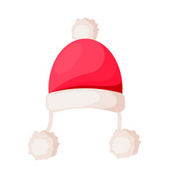 Santa claus hat with strings ending in pompoms vector