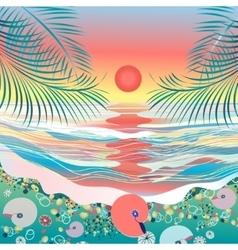 Sea seascape sunset vector