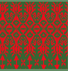 seamless ikat pattern traditional green and vector image