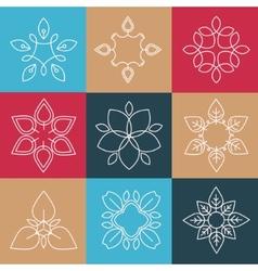 set elegant lineart logo design elements vector image