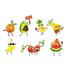 Set of fruit characters having fun birthday party vector