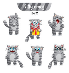 Set of tabby cat characters set 2 vector