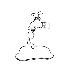 Silhouette faucet pouring out water drop icon vector