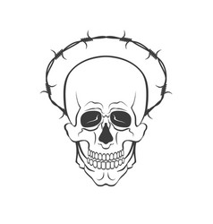 Skull with barbed wire concept vector