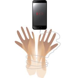 Smartphone bondage hand vector