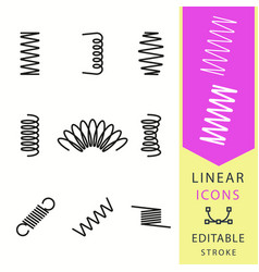 Spring - line icon set editable stroke vector