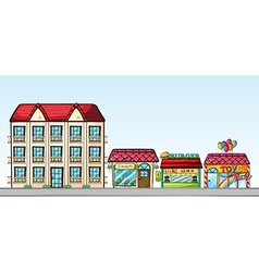 Stores on street vector