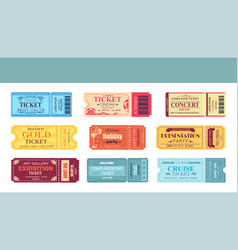 Theatre and cinema tickets set vector