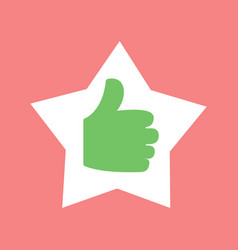 thumb up in star shaped frame hand isolated icon vector image