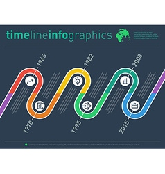 time line info graphic with diagram icons and over vector image