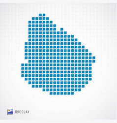 uruguay map and flag icon vector image