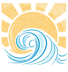 vintage sea waves and sun of sea vector image