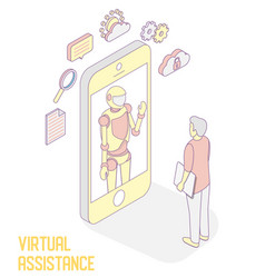 virtual assistance isometric vector image