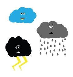 Weather set clouds characters vector
