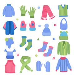 winter clothes fabric knitting stylish wardrobe vector image