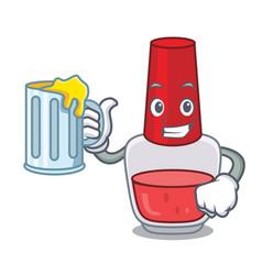 with juice nail polish mascot cartoon vector image