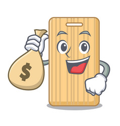 With money bag wooden cutting board character vector