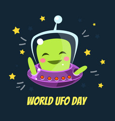 world ufo day banner template with cute funny vector image