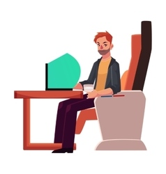 Young unshaved man working on laptop in business vector